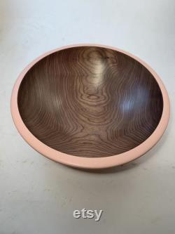 Wooden Bowl In Black Walnut Bowl With A Pink Exterior ( 11.75x4.25)