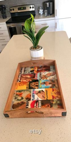 Wooden Vintage Playboy Table Tray Centerpiece
