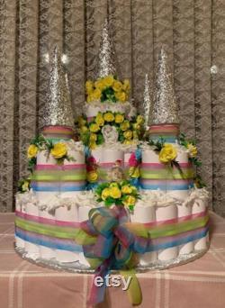 12 bébé de niveau, gâteau de couche de fille de gar on, 70 cm, douche de bébé, gâteau de couche de château pour une princesse ou un prince, pièce maîtresse, couches 100 utilisables, toutes les couleurs
