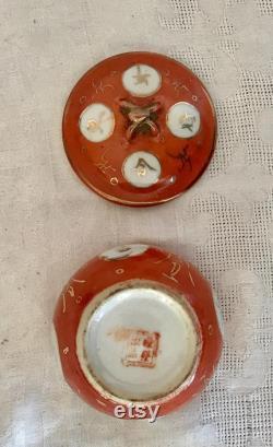 19ème bol siècle chinois sol Coral gla ure Famille Rose mariage avec couvercle et feuillus Stand