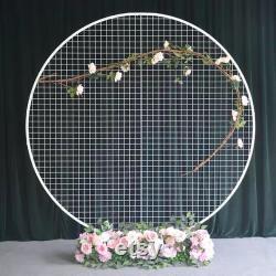 1 1.5 2m de haut Golden White Metal Mesh Arch Circle pour Flower Balloon Décoration Backdroment Party Birthday Wedding Cake Smash Background Props
