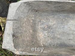 27.9 x 10.2 Bol antique de pâte en bois Panier primitif de tilleul artisanal Ferme Décor à la maison Décor rustique 26