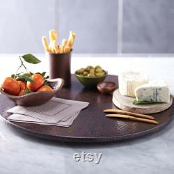 30 Copper Lazy Susan Handhammered Antimicrobial Surface for Kitchen