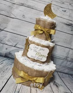 3 Tier Diaper Cake 3 pièce set w 2 niveaux Love you to the moon and Back Theme Burlap and Gold Moon and Stars Baby Shower Centerpiece