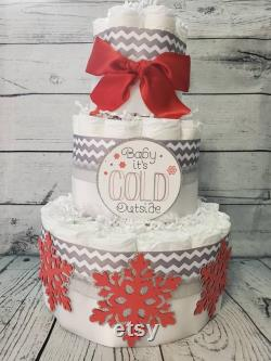 3 tier Couches Gâteau 3 pièces ensemble w 2 niveaux Baby it s Cold Outside Theme Red and Silver Snowflakes Winter Theme Baby Shower
