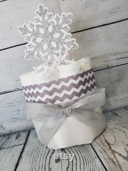 3 tier Couches Gâteau 5 pièces ensemble Baby it s Cold Outside Theme Silver Snowflakes Winter Theme Baby Shower