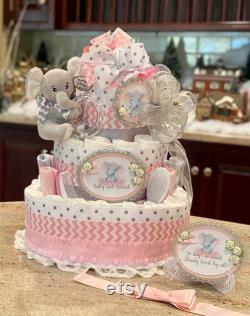 4 tier, Gâteau de couche d éléphant rose pour bébé fille, pièce maîtresse de gâteau de couche, gâteau de couche de fille de bébé
