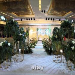 4pcs set Rectangular wedding centerpieces flower stands for table backdrop stand Geometric stand decoration white gold black frame