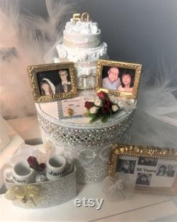 50e cadeau d anniversaire de mariage. lanterne personnalisée éclairée