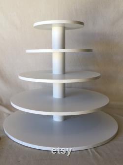 5 Tier Round Large Custom Made Cupcake Stand. Peut contenir jusqu'à 156 petits gâteaux.