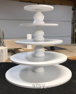5 niveaux de ronde plus grande capacité fait sur mesure Cupcake Stand avec 1 2 pouce épaisseur niveaux et entretoises Style tulipe. Pas de Base.