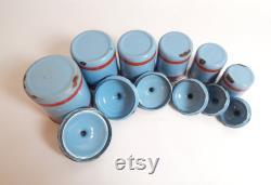 6 Fran ais boîtes d émail vintage en bleu avec décoration rouge