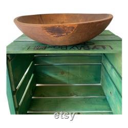 AAFA Antique Wood Primitive Dough Bowl 15 Surface originale hors de round