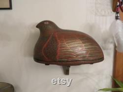 À la main peint sculpté en bois recouvert de bol pièce maîtresse Vintage cabine chasse Decor w navire gratuit
