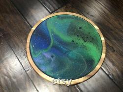 Acacia Wood Lazy Susan Acrylique Pour Peinture avec paillettes et art résine enduite d art abstrait