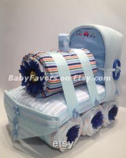 Adorable Train Diaper Cake for Boy Girl Neutral Baby shower Centerpiece ou cadeau pour le nouveau bébé