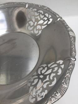 Alessi Corbeille a pain corbeille à fruits, grand bol vintage acier inoxydable, pieds plastique noir Italie 1960s, cadeau Noel pour elle