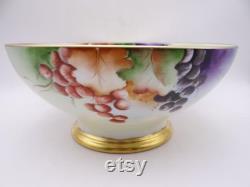 Années 1890 Peint à la main Limoges France TandV Tressemann et Vogt Large Fruit ou Pièce maîtresse Punch Bowl