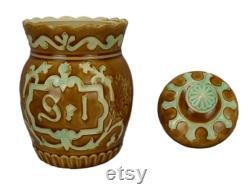 Antique Majolica Fran ais sel bidon, conteneur de stockage poterie vernissée, Fives Lille barbotine, chalet Fran ais, XIXe siècle