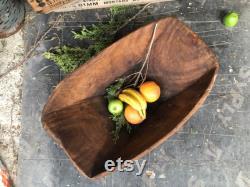 Antique Wooden Dough Bowl, Bol en bois, Bol décoratif unique, Décor rustique