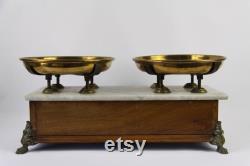 Antiquités Fran ais de cuisine, échelles de style Napoléon III Marbre, Bois et Laiton années 1930