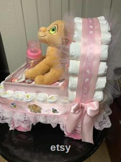 Baby Shower Gift Basket Lion King Nala Theme Stroller Carriage for a boy Diaper Cake