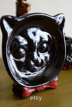 Bad Kitties vintage années 1950 Black Ceramic Shafford Cat Coffee Tea Cruet Set Decanter Mid Century Modern, vintage Kitchen, Cat Lady