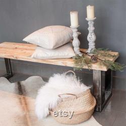 Banc d entrée banc industriel, mobilier industriel, fait à la main, banc d entrée, bois de récupération, bois banc, banc avec pieds en acier, les jambes en métal