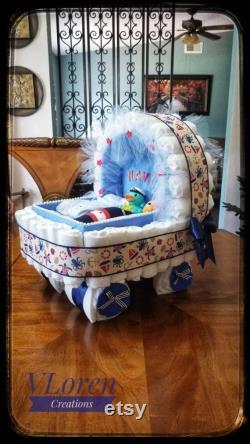 Bébé Cadeau Couche Gâteau Blue Carriage Bassinet Poussette Panier Baby Shower