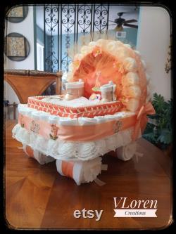 Bébé Cadeau Panier Couche Gâteau Orange Peach Carriage Bassinet Poussette Baby Shower