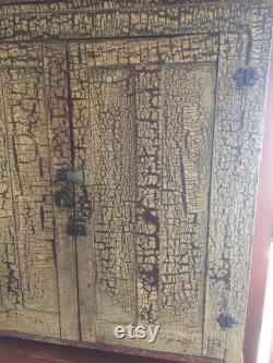 Belle armoire antique hoosier et table, beaucoup de stockage, peinture originale