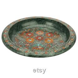 Bol à fruits bols à fleurs en marbre noir incrusté de nacre pour l'affichage de la table à manger artisanat incrusté de pierre Pietra Dura