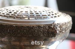 Bol d argent de rose argent antique grenouille fleur vase de miroir plateau de table centrale Pot pourri Posy bol de fleur bol décor de table de vacances