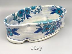 Bol ovale bas d Arabella, conception originale peinte à la main l accessoire de cuisine bleu heureux coloré, organisateur de bureau de trieur de porte-courrier