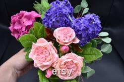 Bouquet intérieur pour la maison Roses roses Lilas Sprigs d eucalyptus Rose hortensia fleurs d argile polymère de porcelaine froide un cadeau pour maman