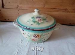 Casserole ancienne émaillée casserole vintage en métal vaisselle shabby chic et romantique batterie de cuisine vintage