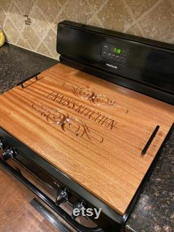 Couverture supérieure de poêle gravée personnalisée (gaz ou électrique), couverture supérieure de poêle en bois, panneau de nouilles, cadeau de crémaillère, couverture de cuisinière en bois