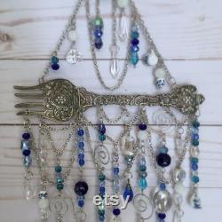 Cuisine Decor bleu et blanc fait à la main Suncatcher perlé fenêtre décoration fête des mères cadeau
