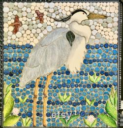 DIY 32x20 Custom Mosaic Blue Heron Back Splash ou Insert douche.