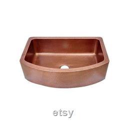 D-Shape Design Copper Undermount Kitchen Sink Single Bowl 16-Gauge Front Apron Antique Finish Basin Dimensions 33 X 22 X 9