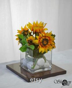 Décor à la maison, décoration à la maison, décoration de table, fleurs artificielles, pièce maîtresse de fleur, pièce maîtresse de mariage, automne, tournesols, ShaheenJuin