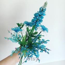 Décor de fleurs sauvages du Texas Blue fran ais fleurs perlées Arrangement Bouquet arrangement