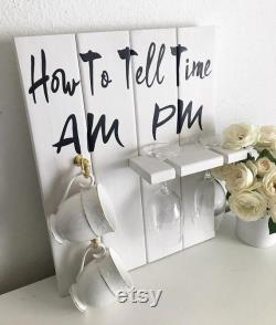 Décor parfait et drôle How To Tell Time (fr) AM et PM Vin et café Signe rustique pour la cuisine Matins et soirs à la maison