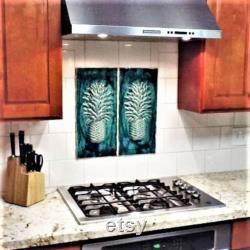 Décor tropical de plage Carreaux de mur en céramique Tuiles d ananas Tuile de mur tropical Dosseret de cuisine Décor d ananas Art mural d ananas