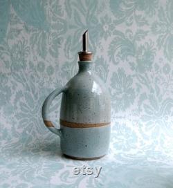 Distributeur en céramique, bouteille d huile d olive et de vinaigre, cadeau de cruet de crémaillère de poterie fait main.