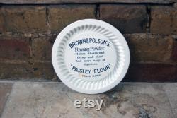 Edwardian English Royal Doulton White Ironstone Shortbread Moule moule, Brown Polson Paisley Flour Publicité, Black Transfer Print