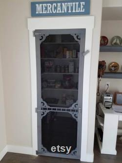 Élégant, antique, vintage, garde-manger cuisine porte d écran de décor à la maison.