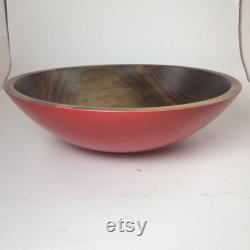 En noyer noir grand bol avec un extérieur roux (13 X 4)