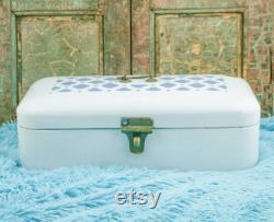 Enamel BREAD BOX Enamelware Bread bin Large ART Déco Boite a pain emaillee Broodtrommel Brotkasten