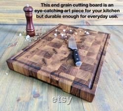 End Grain Board with Juice Groove, Black Walnut Butcher Block Board with Juice Groove